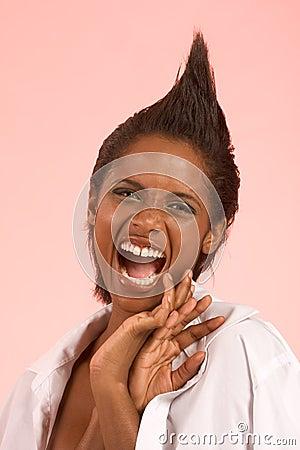 Screaming ethnic woman in sexy flirting pose