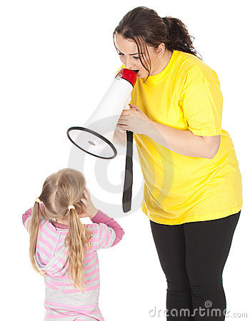 Screaming fat mother, megaphone and little girl
