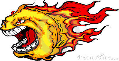 Screaming Fire Ball or Comet Cartoon