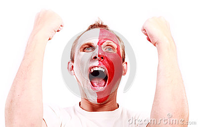Screaming football fan