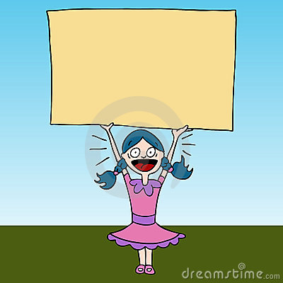 Screaming Girl Holding Sign