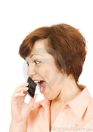 Screaming girl with mobile phone isolated