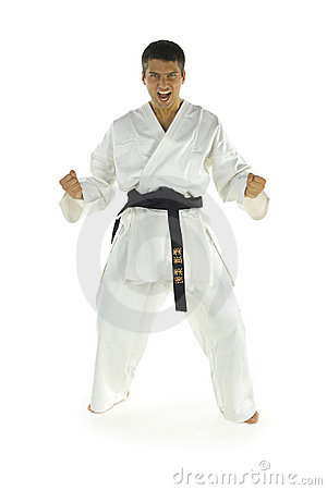Screaming karate fighter