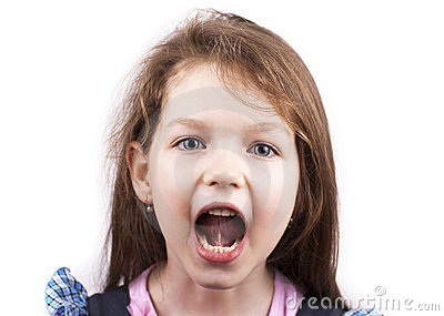 Screaming little girl isolated, close up