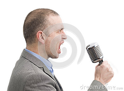 Screaming man with a microphone