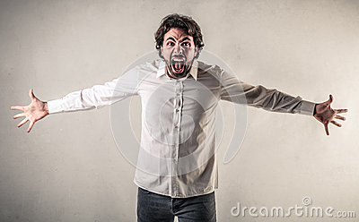 Screaming man with opened arms