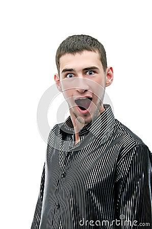 Screaming man portrait