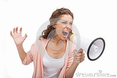 Screaming into megaphone