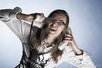 Screaming phone operator.
