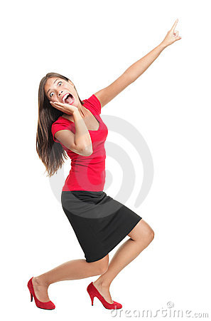 Screaming and pointing woman