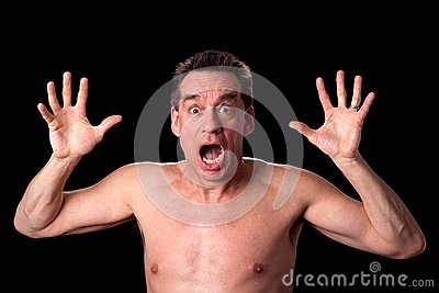 Screaming Shirtless Man on Black