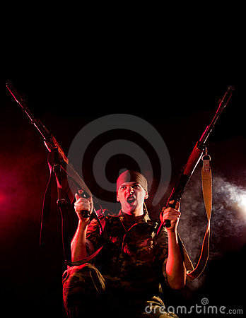 Screaming soldier with two guns