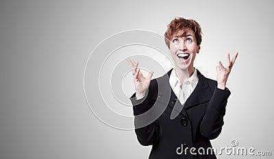 Screaming success short hair business woman