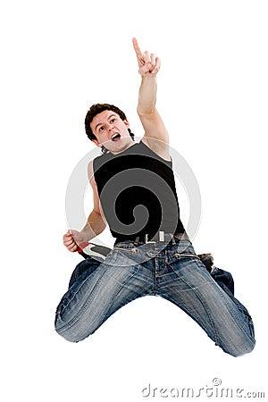 Screaming surprised man looking top