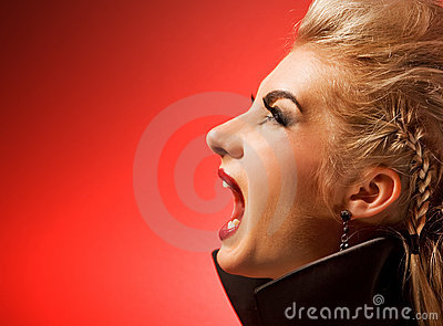 Screaming vamp woman