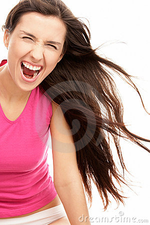 Screaming woman with blowing hair