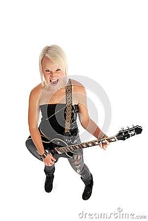 Screaming Woman Girl Playing Guitar