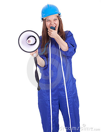 Screaming woman in hardhat with megaphone