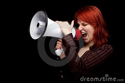 Screaming woman with megaphone