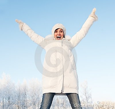 Screaming woman outdoors
