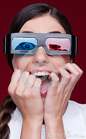 Screaming woman in stereo glasses