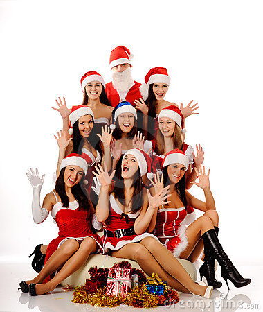 Screaming women and Santa Claus