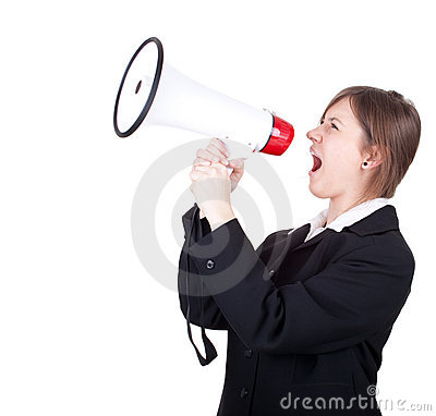 Screaming young businesswoman with megaphone
