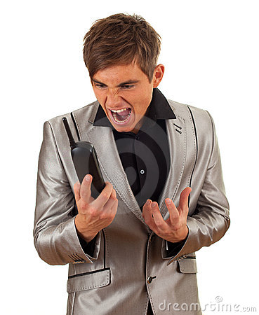 Screaming young man with phone