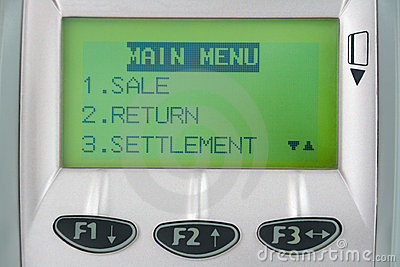 Screen of credit machine with buttons