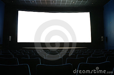 Screen in dark cinema