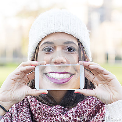 Free Screen Will Smile View The Phone, Selfie Portrait Happiness Woman. Stock Images - 49464314
