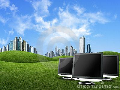 Screens and buildings against green nature , globa