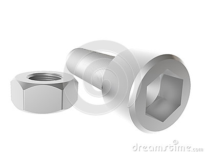 Screw And Nut. Render. Royalty Free Stock Photography - Image: 26259617