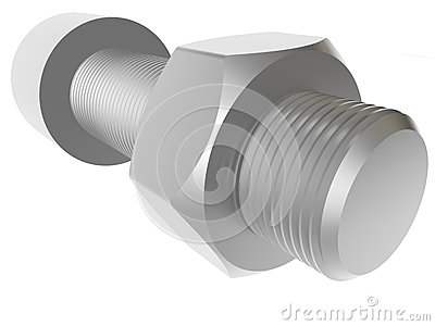 Screw and nut. Render.