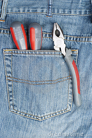 Screwdriver, nippers and pliers in the pocket
