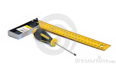Screwdriver and ruler