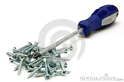 Screwdriver and small metal screws