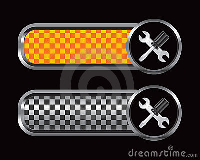 Screwdriver and wrench orange and black tabs