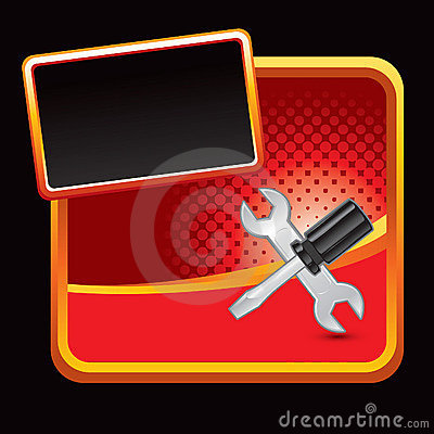 Screwdriver and wrench on red halftone banner