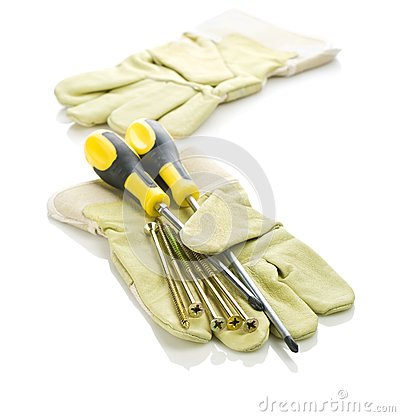 Screws and screwdrivers with gloves