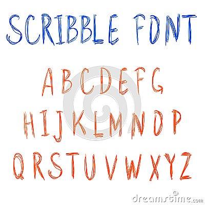 Scribble font. VECTOR blue and orange letters. Vector Illustration