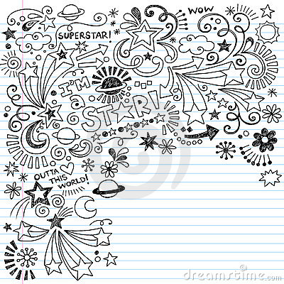 Free Scribble Inky Doodles Superstar Vector Doodle Royalty Free Stock Photos - 22711668