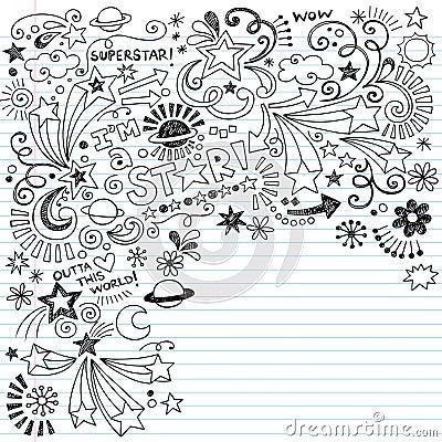 Scribble Inky Doodles Superstar Vector Doodle