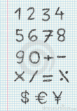 Free Scribble Numbers On Squared Paper Stock Photos - 20208953