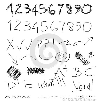 Scribble Numbers Symbols