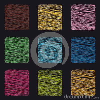 Free Scribble Square Buttons - Colorful Vector Icons - Isolated On Black Background Stock Photo - 120025020