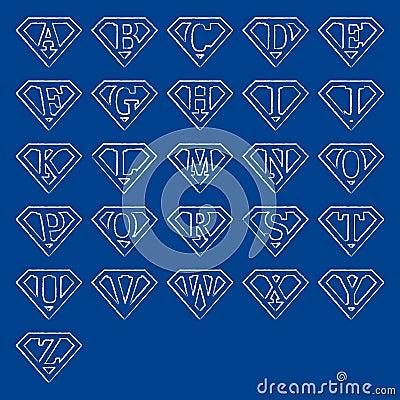Superman Alphabet Letters Svg