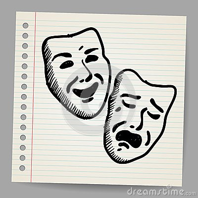 Scribble theater masks