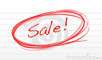 Scribble word sale on a notepad paper