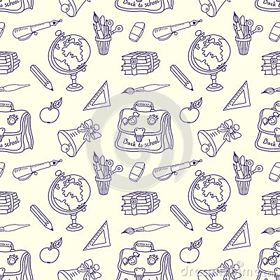 Scribble in a writing-books seamless pattern.